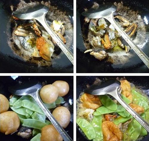 烧锅倒油烧热,下入大闸蟹翻炒一下。