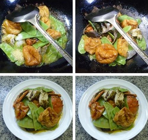 接着,合入扁豆和油面筋,加一些水翻炒翻炒至扁豆断生。