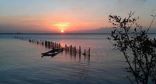 阳澄湖夕阳景色